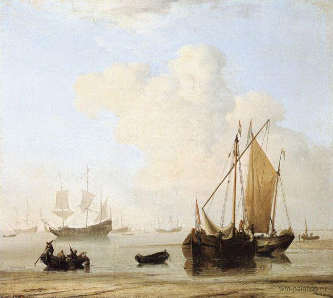 картина маринистика <Штиль> ::  Виллем ван де Вельде - Море в живописи ( морские пейзажи, seascapes ) фото