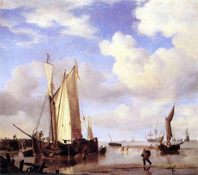 картина маринистика <Корабли на якоре>, отлив ::  Виллем ван де Вельде - Море в живописи ( морские пейзажи, seascapes ) фото