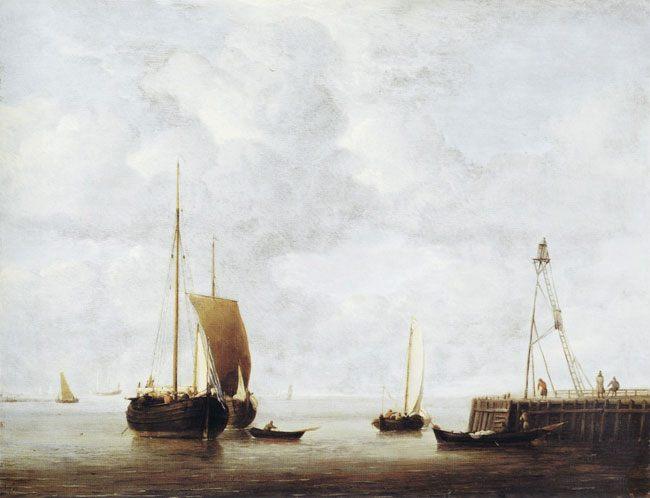 картина маринистика <Голландские баржи на якоре возле пирса> ::  Виллем ван де Вельде - Море в живописи ( морские пейзажи, seascapes ) фото