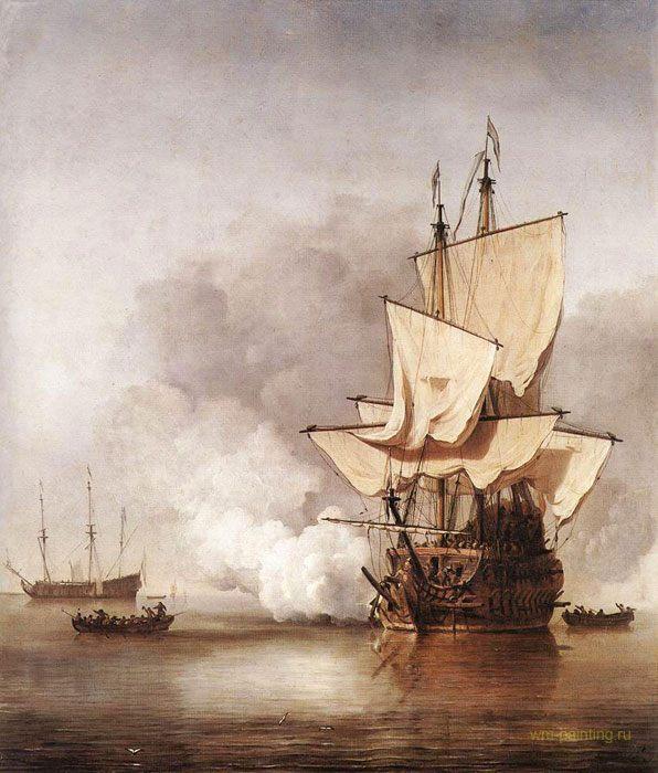 картина маринистика <Выстрел из пушки> ::  Виллем ван де Вельде - Море в живописи ( морские пейзажи, seascapes ) фото