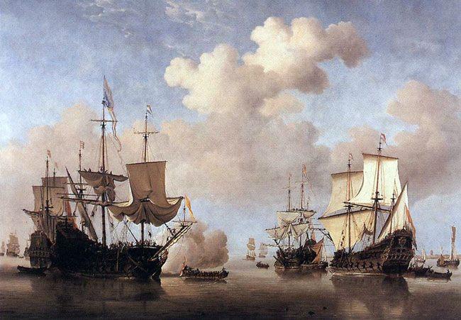 картина маринистика <Штиль, корабли становятся на якорь> ::  Виллем ван де Вельде - Море в живописи ( морские пейзажи, seascapes ) фото