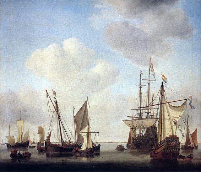 картина маринистика <Военные корабли в Амстердаме> ::  Виллем ван де Вельде - Море в живописи ( морские пейзажи, seascapes ) фото