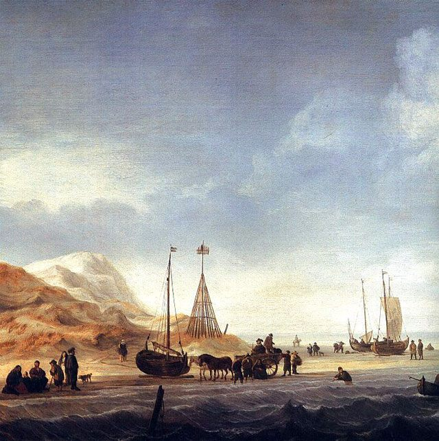 картина маринистика <Сцена на берегу> ::  Виллем ван де Вельде - Море в живописи ( морские пейзажи, seascapes ) фото