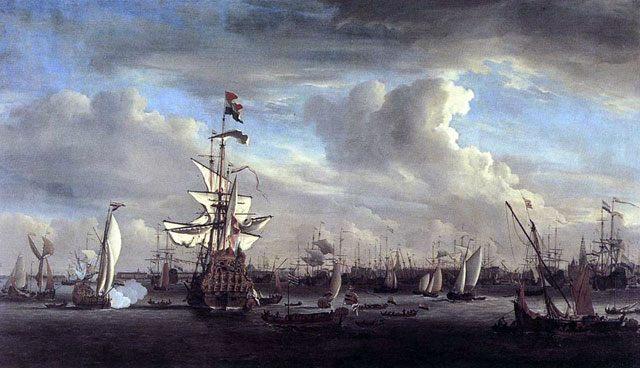 картина маринистика <Боевые корабли в Амстердаме> ::   Виллем ван де Вельде ( старший ) - Море в живописи ( морские пейзажи, seascapes ) фото