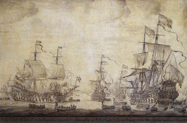 картина маринистика <Военные корабли в Амстердаме> ::   Виллем ван де Вельде ( старший ) - Море в живописи ( морские пейзажи, seascapes ) фото