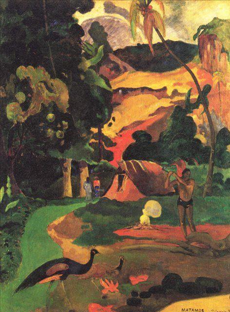 эксперссионистский пейзаж Matamoe (Смерть) Пейзаж с павлинами :: Поль Гоген - Paul Gauguin фото