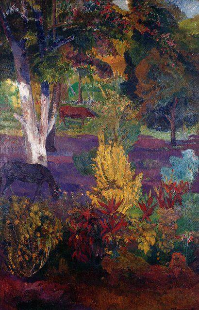 картина  < Маркизский пейзаж с лошадью > :: Поль Гоген - Paul Gauguin фото