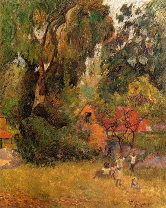 пейзаж  Хижины под деревьями - Paul Gauguin фото