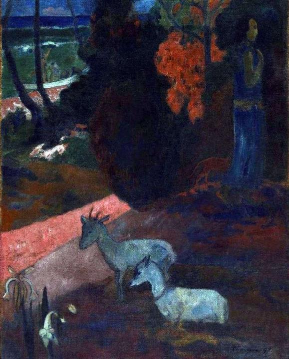 Пейзаж с двумя козами - Paul Gauguin фото