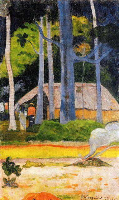 Пейзаж домик под деревьями - Paul Gauguin фото
