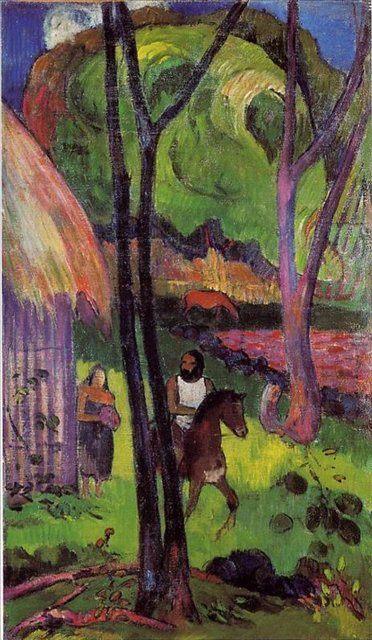 картина  < Всадник > :: Поль Гоген пейзаж - Paul Gauguin фото