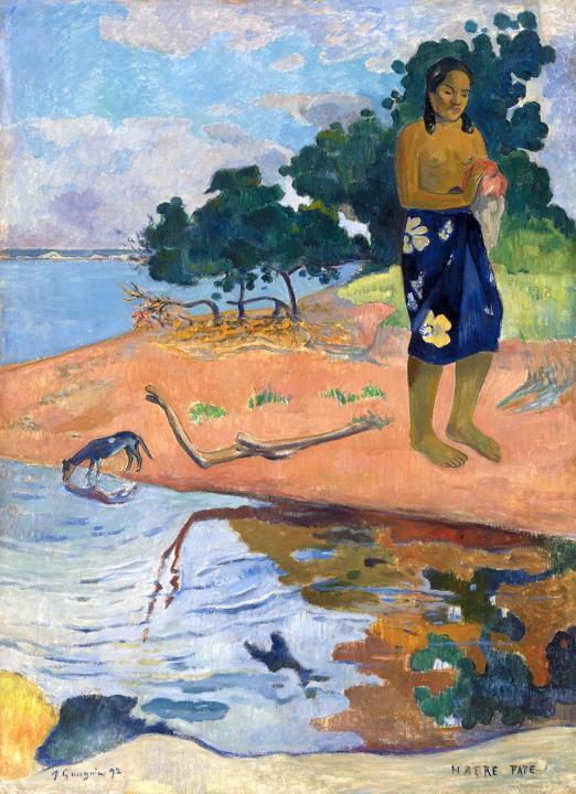 пейзаж Haere Pape (девушка на берегу) :: Поль Гоген - Paul Gauguin фото