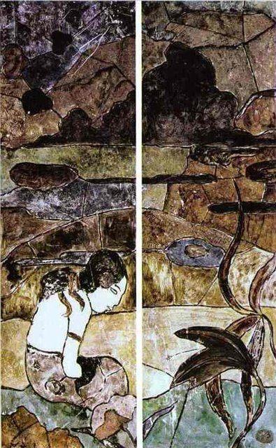 Таитянка на фоне пейзажа  :: Поль Гоген - Paul Gauguin фото