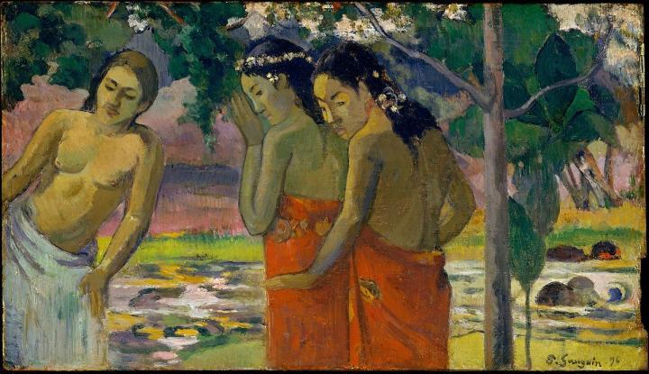жанровая картина Три таитянки :: Поль Гоген, описание картины - Paul Gauguin фото