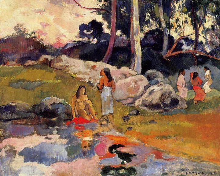 картина Таитянки на берегу реки :: Поль Гоген, описание - Paul Gauguin фото