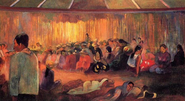 жанровая картина Te Rare Hymenee ( дом гимнов ) :: Поль Гоген - Paul Gauguin фото
