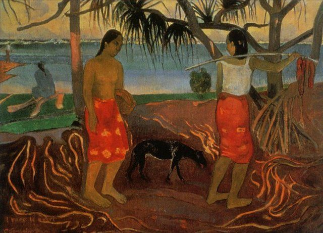 жанровая картина I rara te oviri ( под пандановым деревом ) :: Поль Гоген - Paul Gauguin фото