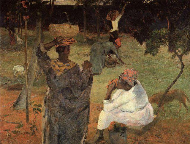 жанровая картина Сборщики манго на Мартинике (Mango Pickers) :: Поль Гоген - Paul Gauguin фото
