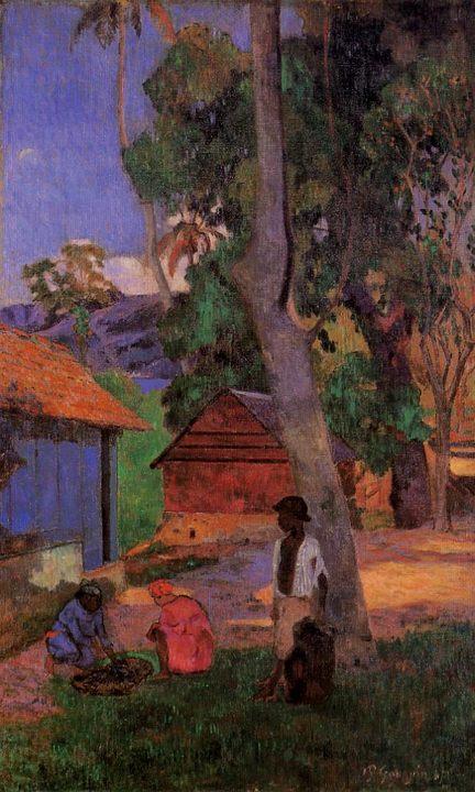 жанровая картина Возле хижин :: Поль Гоген - Paul Gauguin фото