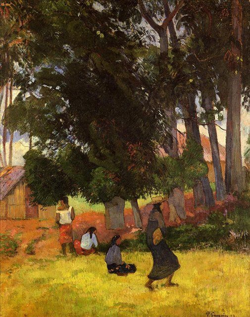 жанровая картина < Таитянская деревня > :: Поль Гоген - Paul Gauguin фото