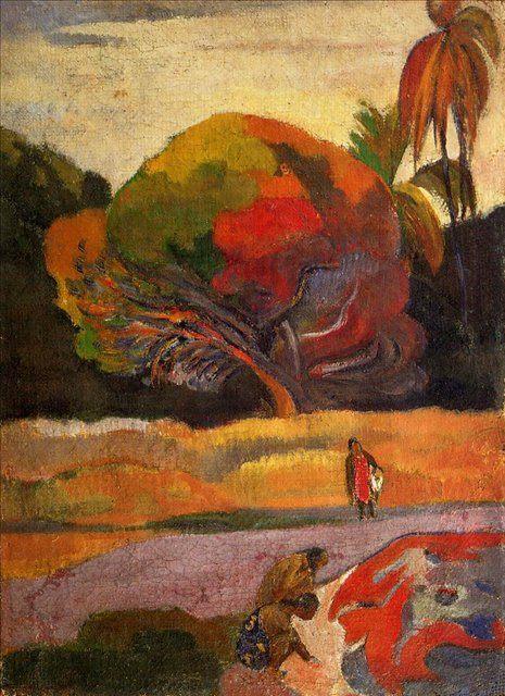 жанровая картина-пейзаж < На берегу > :: Поль Гоген - Paul Gauguin фото