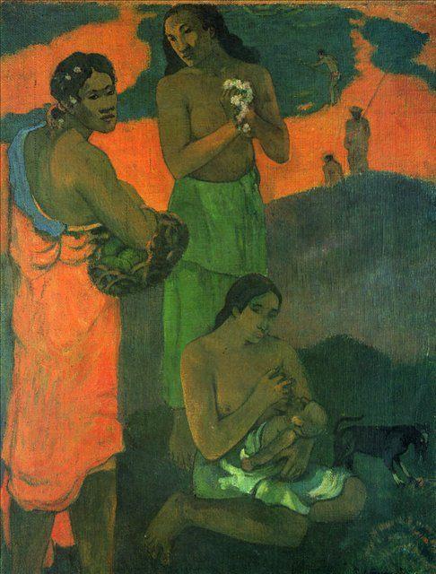 жанровая картина Женщины на берегу моря (Материнство) :: Поль Гоген - Paul Gauguin фото