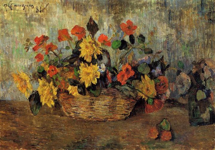 натюрморт - цветы Настурции и Георгины в Корзине :: Поль Гоген - Paul Gauguin фото