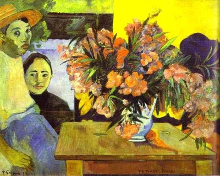 картина Большой букет цветов и таитянские дети (Te Tiare Farani) - Paul Gauguin фото