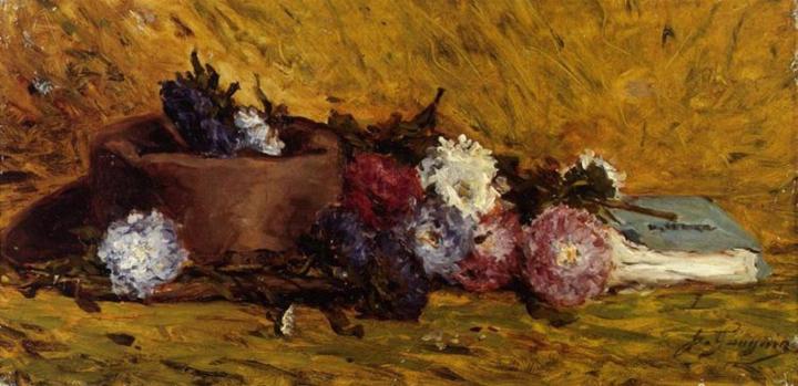 натюрморт - цветы < Китайские Астры, Шляпа и Книга > :: Поль Гоген - Paul Gauguin фото