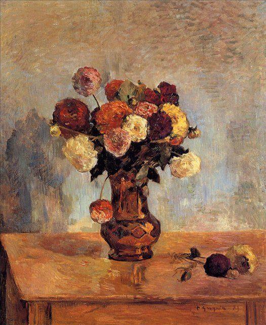 картина натюрморт - цветы < Георгины в медной вазе > :: Поль Гоген - Paul Gauguin фото