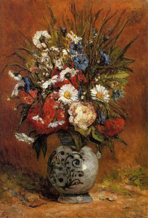 картина натюрморт - цветы < Маргаритки и Пионы > :: Поль Гоген - Paul Gauguin фото