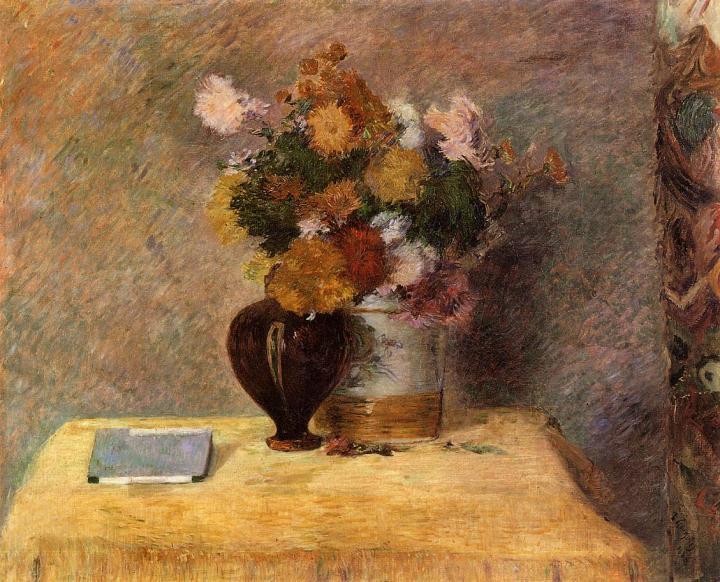 натюрморт Цветы и японская книга :: Поль Гоген - Paul Gauguin фото