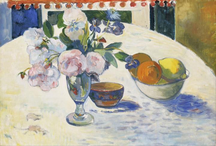 картина натюрморт  < Цветы и корзина с фруктами > :: Поль Гоген - Paul Gauguin фото