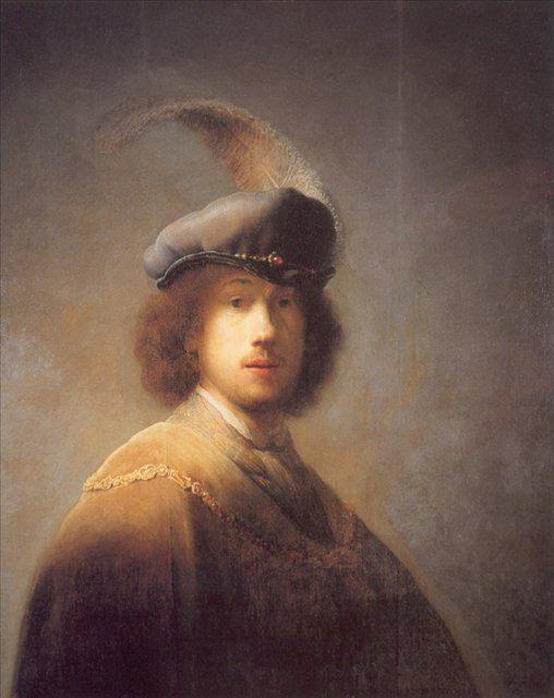 Автопортрет в берете с пером :: Харменс ван Рейн Рембрандт - Rembrandt фото