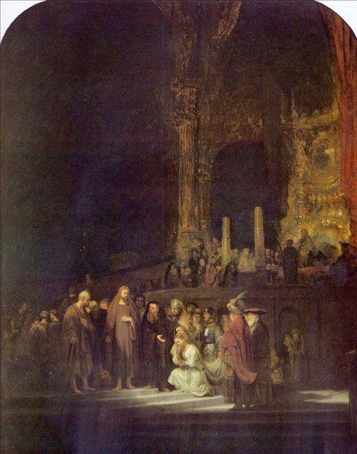 картина < Христос и неверная жена > :: Харменс ван Рейн Рембрандт - Rembrandt (Рембрандт) фото