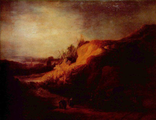 картина < Пейзаж с крещением городского казначея > :: Харменс ван Рейн Рембрандт - Rembrandt (Рембрандт) фото