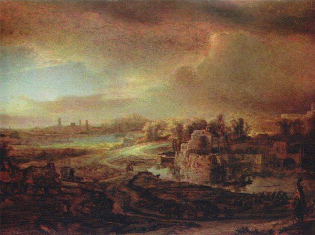 картина < Пейзаж с повозкой > :: Харменс ван Рейн Рембрандт - Rembrandt фото