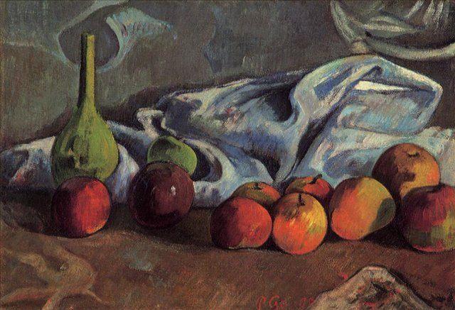 натюрморт  < Натюрморт с яблоками  и зелёной вазой > :: Поль Гоген - Paul Gauguin фото