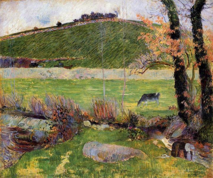 Лужайка на берегу реки в Эвене :: Поль Гоген - Paul Gauguin фото