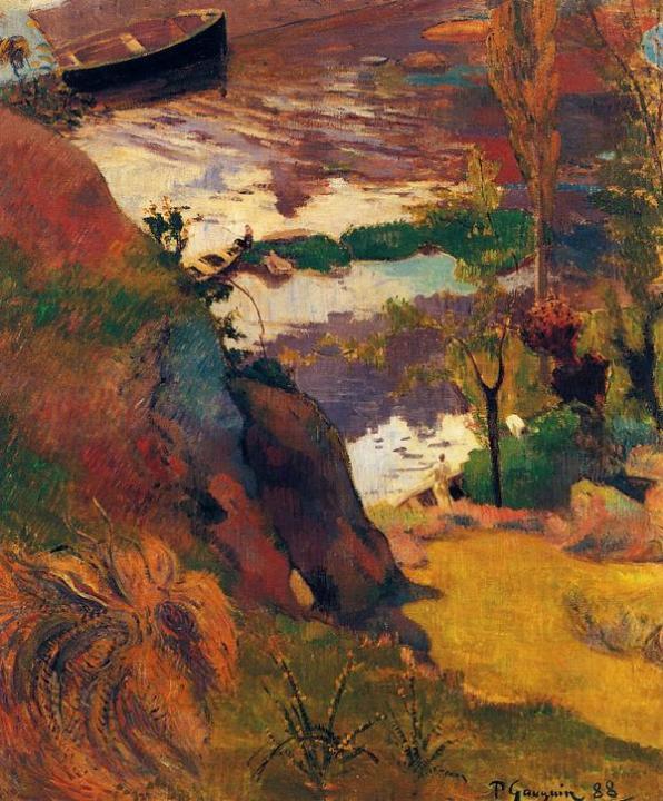 пейзаж Рыбаки и купальщики на Эвене :: Поль Гоген - Paul Gauguin фото
