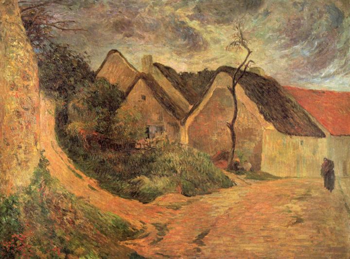 пейзаж Крутая дорога в Осни (сельские дома) :: Поль Гоген - Paul Gauguin фото
