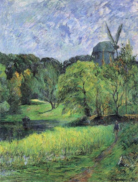 пейзаж Мельница. Парк Остерволд :: Поль Гоген - Paul Gauguin фото