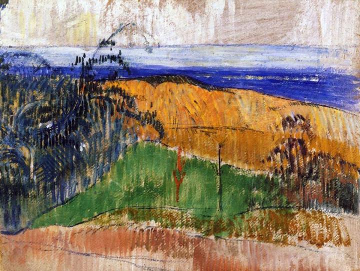 пейзаж Вид с пляжа Беллангенай :: Поль Гоген - Paul Gauguin фото