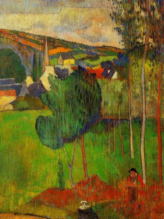 пейзаж Вид на Порт-Эвен из Лезавен :: Поль Гоген - Paul Gauguin фото