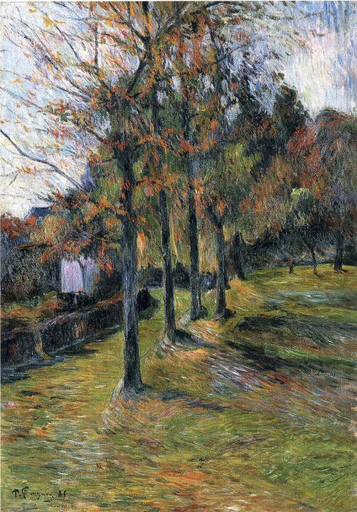 пейзаж Деревья и дорога :: Поль Гоген - Paul Gauguin фото
