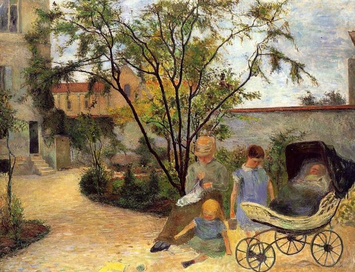 пейзаж Семейство в саду :: Поль Гоген - Paul Gauguin фото