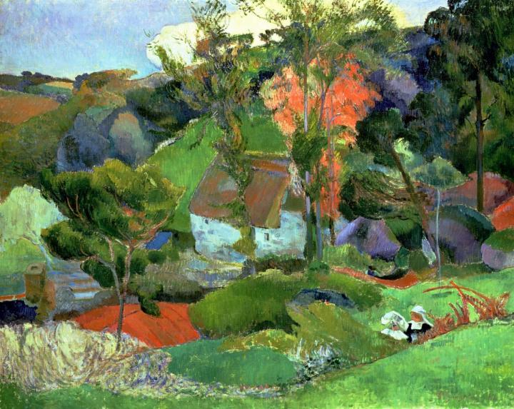 пейзаж Эвен бегущий через Порт-Эвен :: Поль Гоген - Paul Gauguin фото