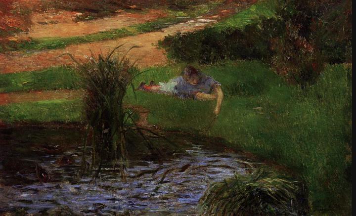 пейзаж Пруд с утками (Девочка занятая собой) :: Поль Гоген - Paul Gauguin фото