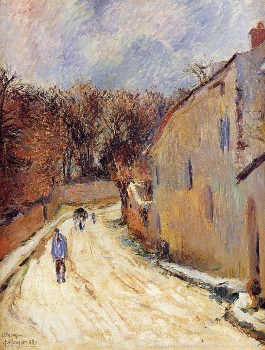 пейзаж Осни, улица Понтуа зимой :: Поль Гоген [ живопись постимпрессионизм ] - Paul Gauguin фото