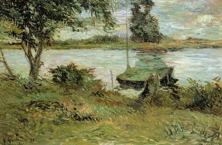 картина Речной пейзаж Берега реки Уаза :: Поль Гоген - Paul Gauguin фото